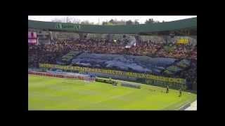 FC Nantes - AJ Auxerre, Samedi 20 avril 2013 : la tribune Loire fête les 70 ans du FCN.