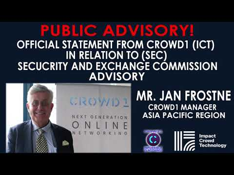 SEC Issue by Jan Frostne (Asia Pacific Manager of Crowd1)