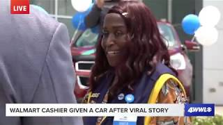 Walmart cashier who walked 6 miles to work gets taken for ride to pickup new car