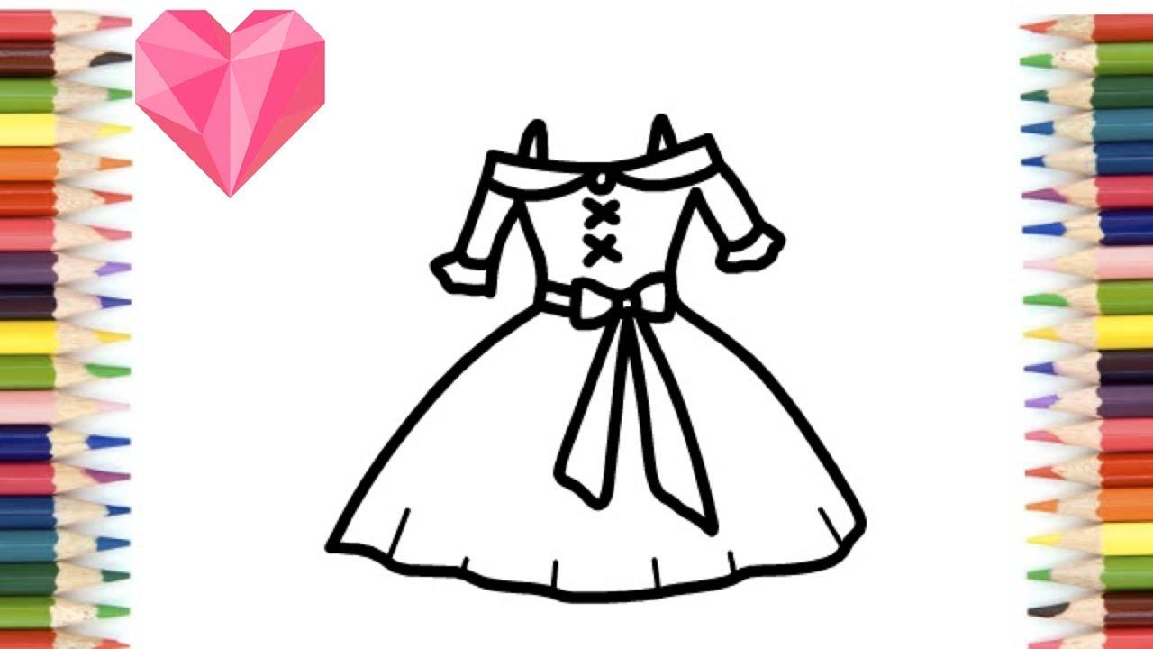 للبنات رسم سهل | تعليم رسم فستان كيوت خطوة بخطوة \رسم ...