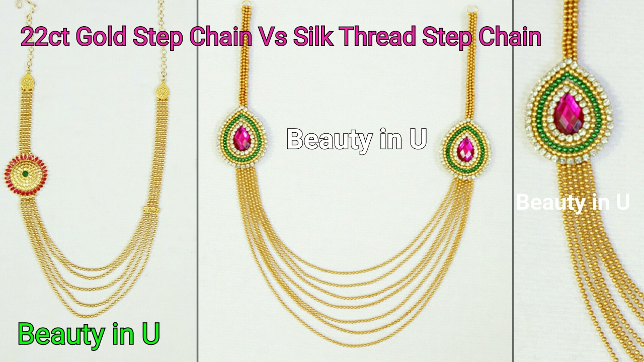 How to make Paper/Silk Thread Bridal Step Chain at Home|Tutorial ...