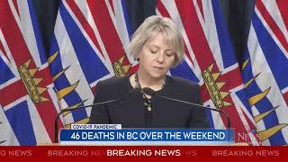 46 deaths in B.C. over the weekend