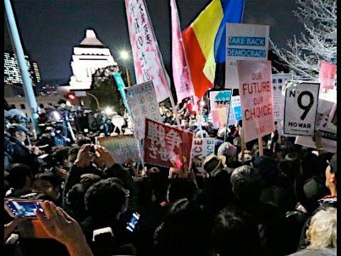国会前で安保法に反対集会
