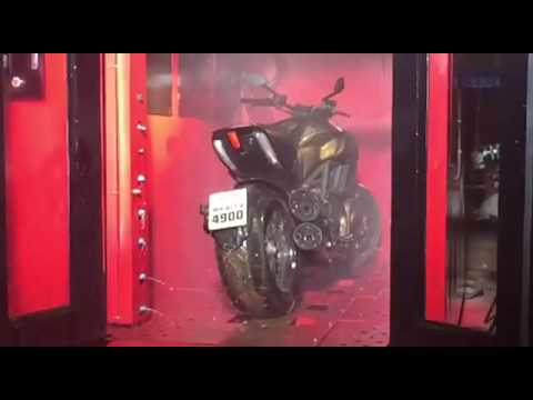 BikeCleanse Automatic Bike Wash on a Ducati Diavel Slow-Mo