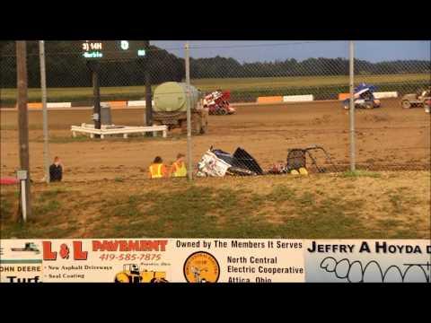 Phil Gressman takes a wild ride at Attica Raceway Park 7-27-2012