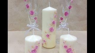Декор свечей . Розы . Fimo / Decor wedding candles(Всем привет! Сегодня мы будем декорировать свечи! Нам понадобится: полимерная глина FIMO, свечи нужного вам..., 2014-03-11T17:11:19.000Z)