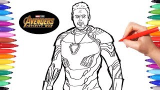 Avengers Infinity War Iron Man | Avengers Coloring pages | Watch How to Draw Iron Man | Infinity War