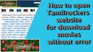 Tamilrockers movie download opens website  without error 2018