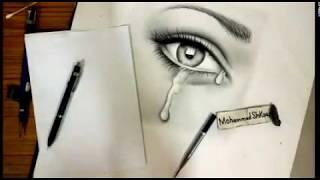 كيفية رسم الدموع مع تظليل جنبات العين بأقلام الرصاص ..