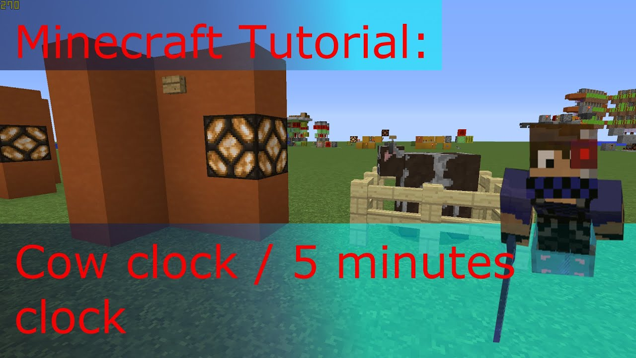 Minecraft 5 Minute Timer Fulldownload Minecrafthowtomakearedstoneclockcircuit Tutorial Cow Clock Minutes Youtube