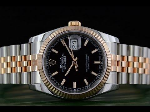 Rolex Datejust Black Stick Dial Fluted 18k Rose Gold Bezel