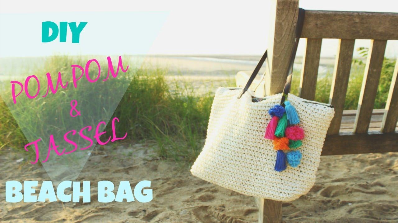How To Make A Diy Pom Pom And Tassel Beach Bag Katie Bookser