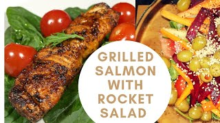 Grilled Salmon Fish iฑ Oven | Oven Baked Salmon with Rocket Salad | Baked Salmon Recipe |