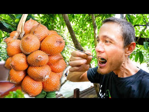 Amazing SNAKE FRUIT SALAD in the Jungle! | Organic Food Paradise! | Phatthalung (พัทลุง), Thailand