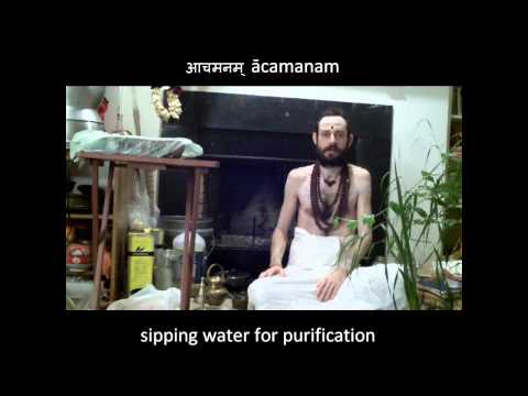 Three practices for purification before puja: Vighneshvara dhyanam, achamanam, and pranayama