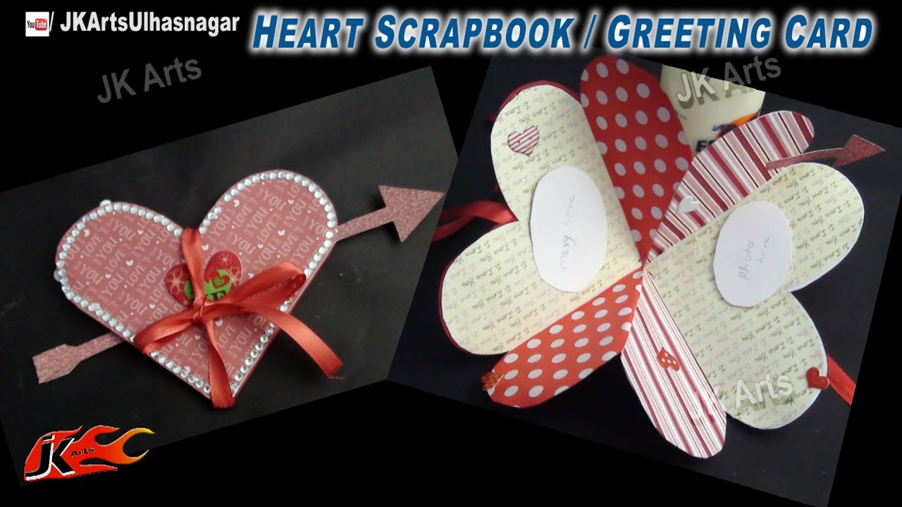 Card Making Ideas Scrapbooking Part - 48: DIY Heart Shape Love Scrapbook | Greeting Card | How To Make | JK Arts 739  - YouTube