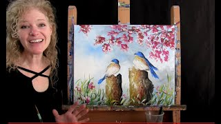 Blossoming Blue Birds | Paint and Sip at Home | Step by Step Acrylic Painting Tutorial that's FUN!