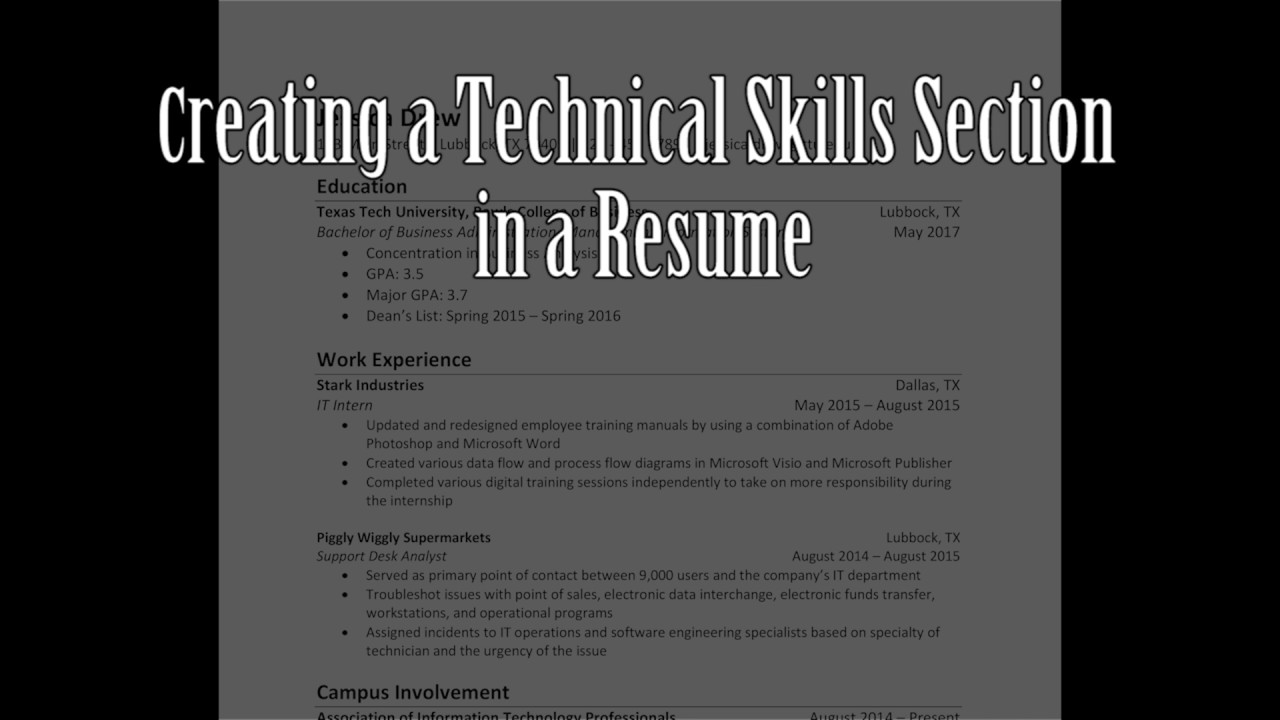 Creating a Technical Skills Section in a Resume - YouTube