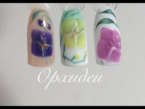 Рисунок орхидеи на ногтях: фото нежного цветочного