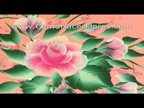 Pintar flores en pared muy f cil muy r pido con pinceladas - Como preparar una pared para pintar ...