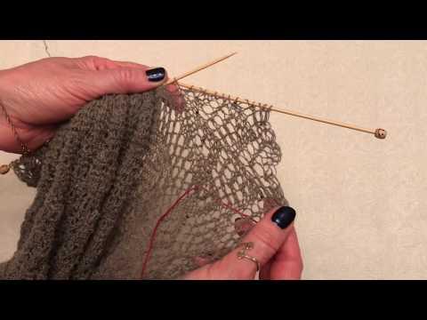 Обратное вязание в платочной вязке.