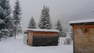Snowing at Pettneu, Austria