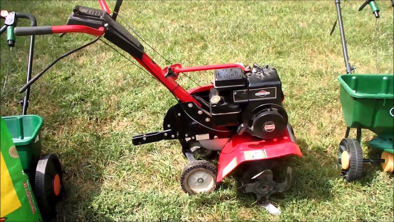 Fall Grass Seeding and Aerating the Lawn with the Garden Tiller