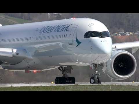 FIRST FLIGHT Cathay Pacific A350-1041 [B-LXD] at Zurich Airport | 4K