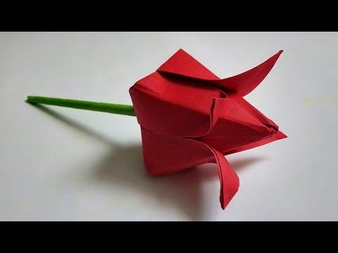 DIY-#2 HOW TO MAKE PAPER ROSE WITHOUT GLUE/KAAGAJ KA FUUL