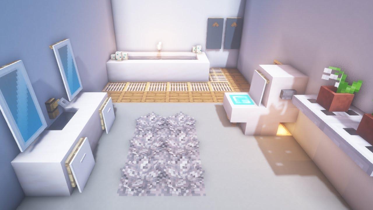 Minecraft Modern Bathroom Build Tutorial Youtube