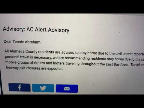 Alameda County Alert Advisory Asks Oakland And East Bay Residents To Stay At Home During Protest