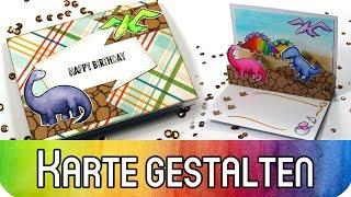 Geburtstagskarte mit Dinosauriern und 3D Pop-Up | Lawn Fawn Stempel und Stanzen