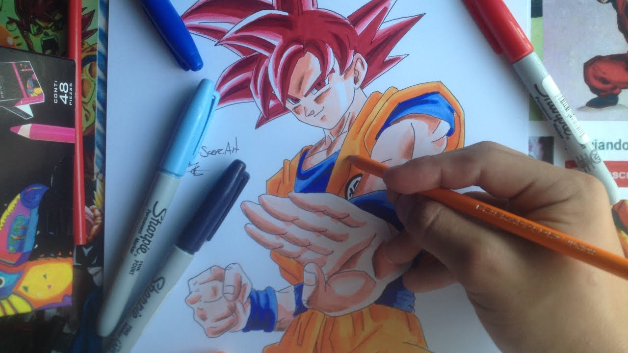 Como Dibujar Y Colorear A Goku Ssj God Sharpieprismacolor How To Drawing Goku Ssjgod