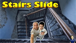 We Build a Stairs Slid!! So much fun sliding down || Dj_play_day
