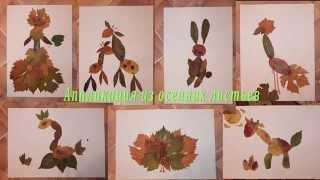 Аппликация из осенних листьев. Application of autumn leaves