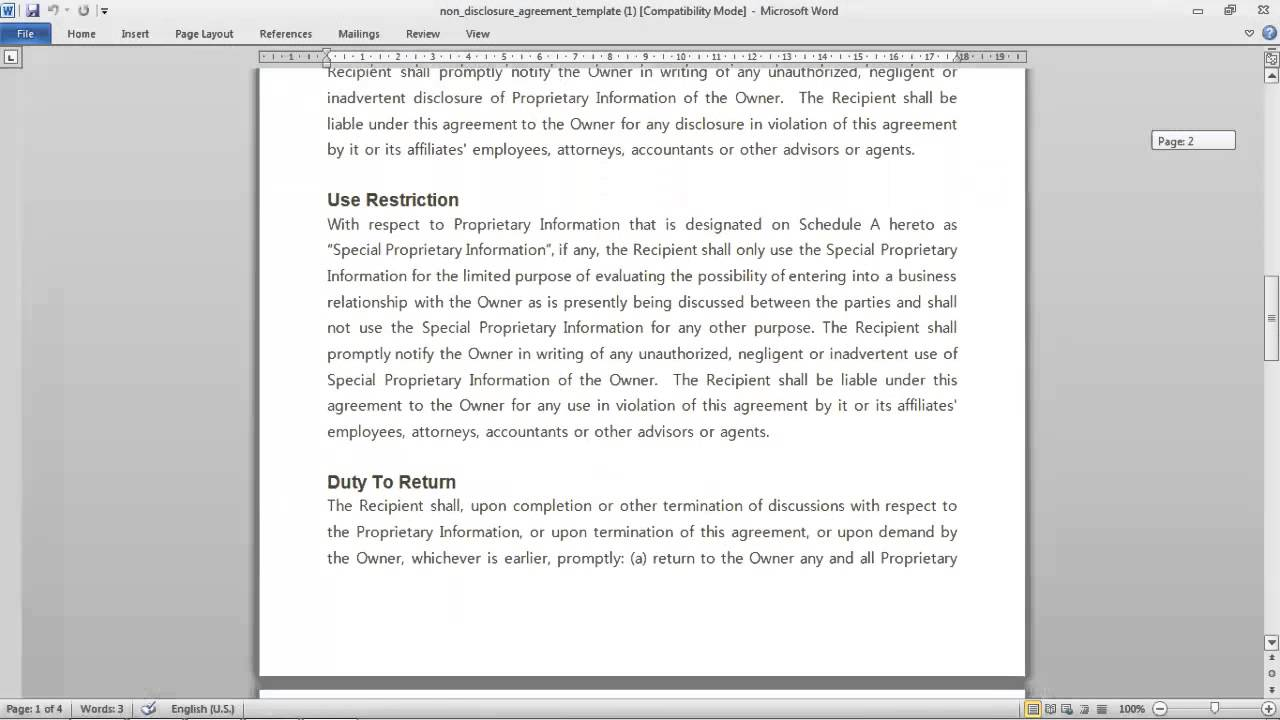Non Disclosure Agreement Template YouTube - Proprietary information agreement template