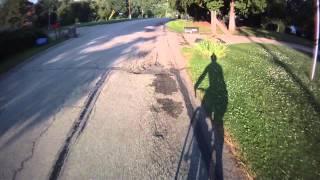 road ride - classic dog chase / highspeed pothole punishment.