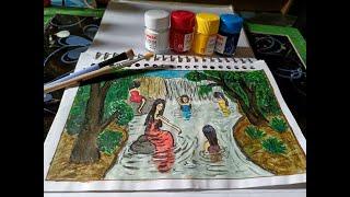 Draw a beautiful girls bathing in lake || Menggambar gadis sedang mandi di telaga