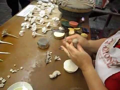 Gladstone Pottery Museum 2013 Rita Floyd Making Flowers