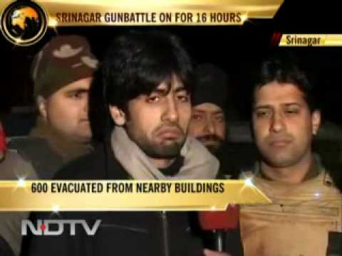 Srinagar terror strike  Encounter continues for second day.flv