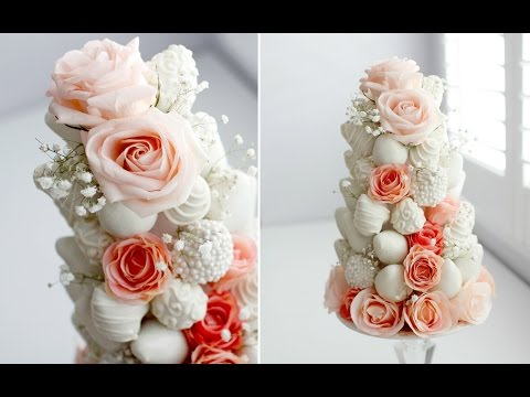 diy-dipped-strawberry-&-rose-tower---gorgeous!