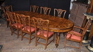 Victorian Dining Table Chippendale Chair Set