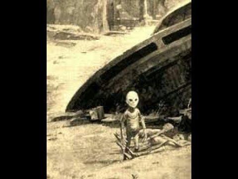 UFO - Nave caindo e Alien saindo de sua Nave