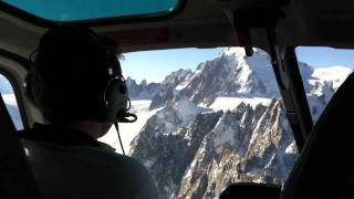 Helicopter hovering Mont Blanc
