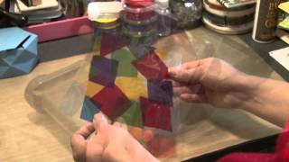 Stained glass look  butterflies using cellophane and laminating pouches