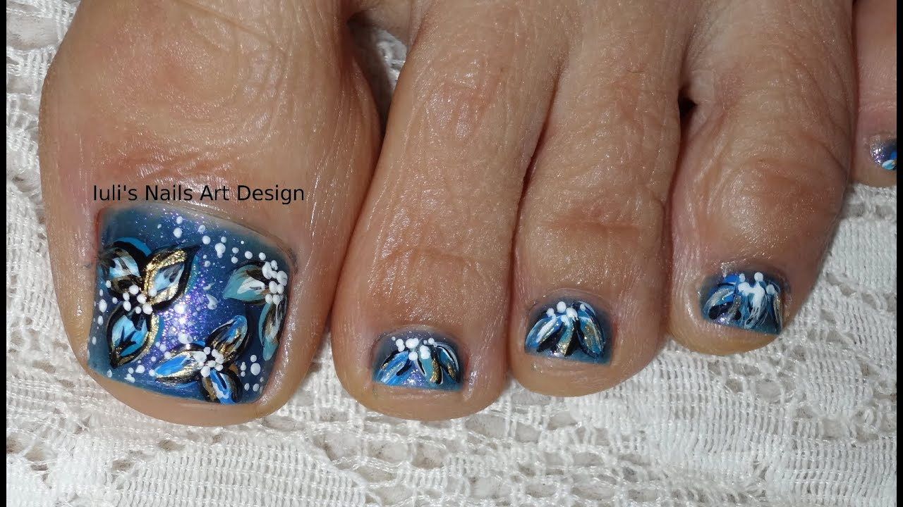 Toes Art Design Pedicure Tutorial Vegan Friendly Midnight Flowers ...