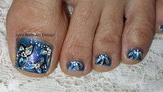 Toes Art Design Pedicure Tutorial Vegan Friendly Midnight Flowers Shades of Blue