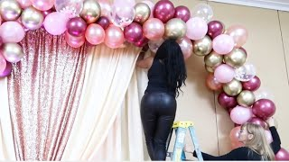 IT'S A GIRL! HOW TO DIY PARTY OR DRESS TABLE & BACKDROP IDEAS | BALLOON GARLAND/ARCH