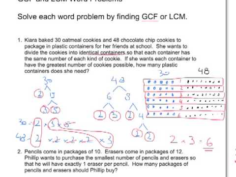 Worksheets Gcf And Lcm Word Problems Grade 4 gcf and lcm problems reocurent word youtube