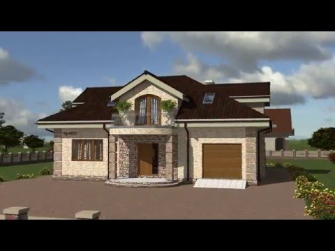 Проект одноэтажного дома с мансардой и гаражом Rg4913